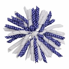 "12 Pcs/ Lot School Fashion Hairbow Clip 5"" Curly Grosgrain Ribbon Korker Bows With Lined Clips Lovely Hair Bow Hair Accessories"