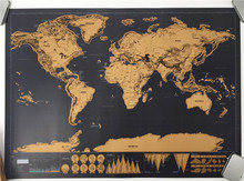 1 pcs New arrival Deluxe blow Map Personalized World  Map Mini  Foil Layer Coating Poster