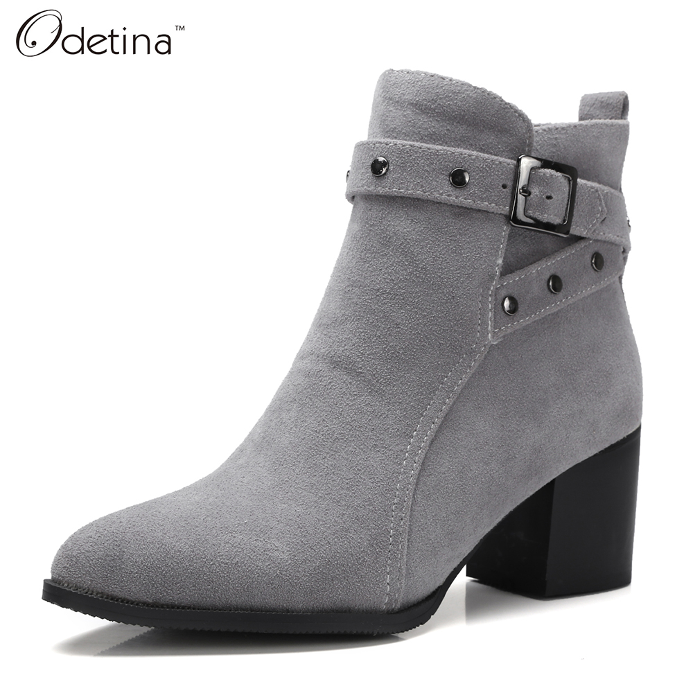 Odetina Handmade Suede Sexy Ankle Boots for Women Boots Winter Large Size Ladies Pu Leather Boots Chunky Heel 2016 Autumn Shoes<br>