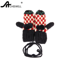 Achiewell 2017 Fashion Full Finger Gloves for Women Winter Warm Knitted Gloves Unisex Soft Warm Mittens Female Gloves(China)