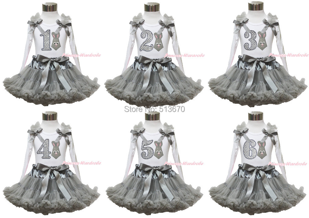 Easter Gray Bunny Neckerchief Birthday 1ST 2ND 3RD 4TH 5TH 6TH White L/S Top Skirt 1-8Y MAPSA0420<br><br>Aliexpress