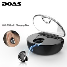 BOAS Mini Bluetooth Wireless Earphones with Charging Box Music Business Invisible Headphone Handsfree with Mic for Lovers Gift(China)