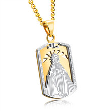LINSOIR 2017 New Gold Color Virgin Mary Necklace Men Religion Jewelry Stainless Steel Dog Tag Male Necklace Pendants Collier(China)
