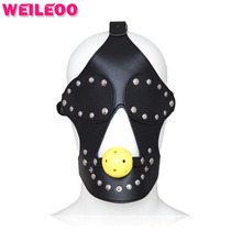 Buy leather sex mask blindfold hollow open mouth gag ball fetish adult slave game erotic bdsm bondage sex toy couple