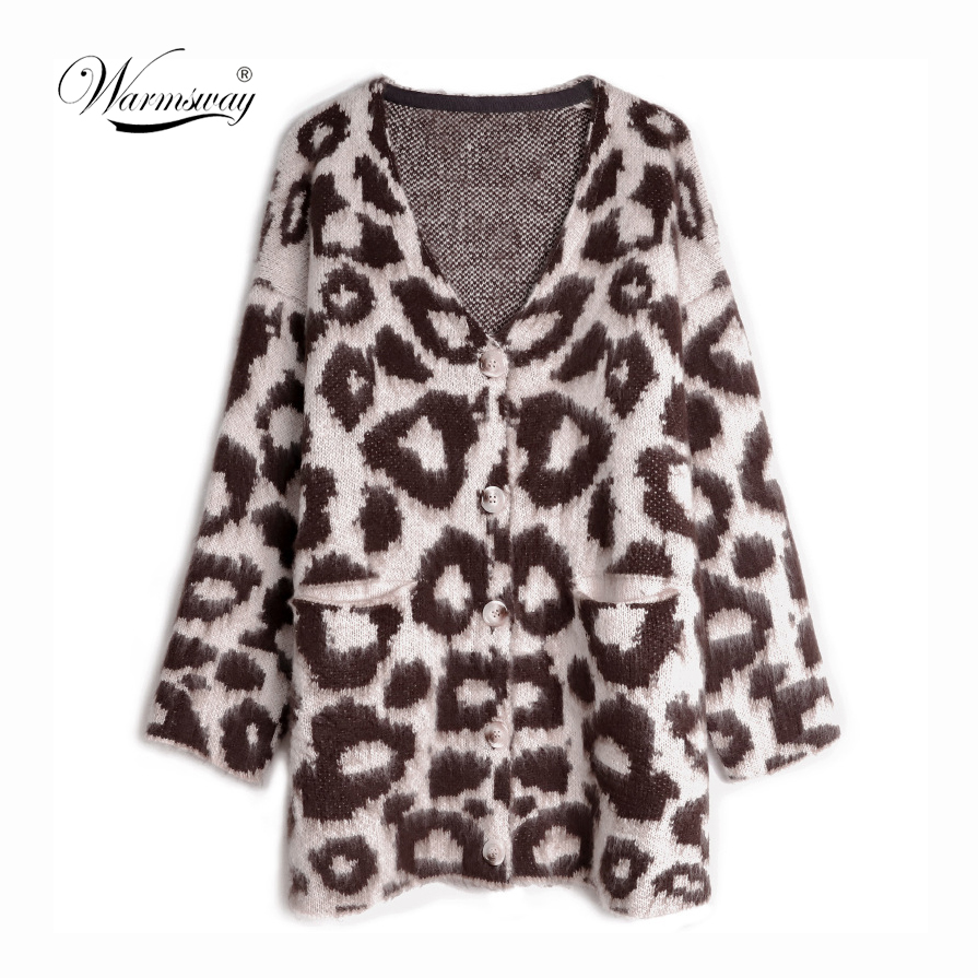 Wholesale High Quality 2019 Spring Autumn leopard single breasted knitting long cardigan Plus sie sweater Oversized coat C-393