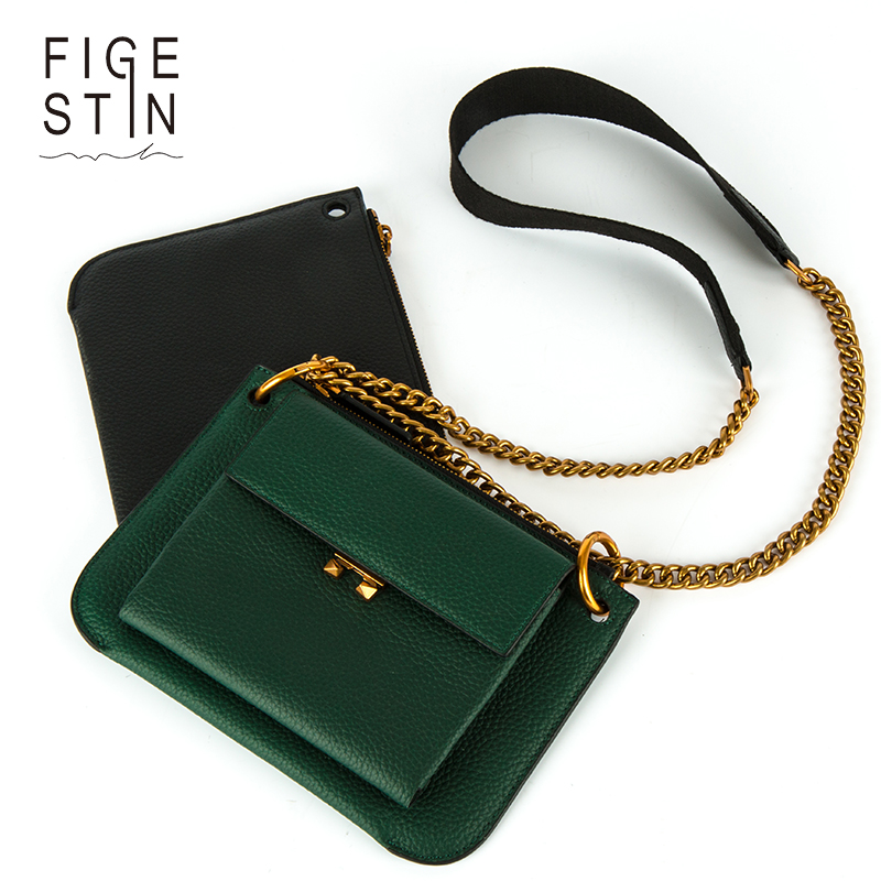 FIGESTIN Womens Shoudler Bags Fashion Real Leather Black/Green/Brown Vintage Style Crossbody Bag Original Small Flap Bag Soft<br>