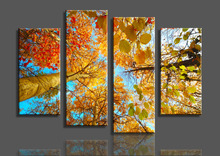 Unframed 4 Panel Modern Printed HD Canvas Painting The Yellow Tree Artwork Home Decor Wall Art Picture for Living Room Decor