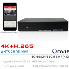 ANTS 4CH,8CH,16CH H.265 4K(8MP) Onvif NVR Support 2x6TB SATA HDD with AEEye Smartphone View App support HDMI Video Audio output(China)