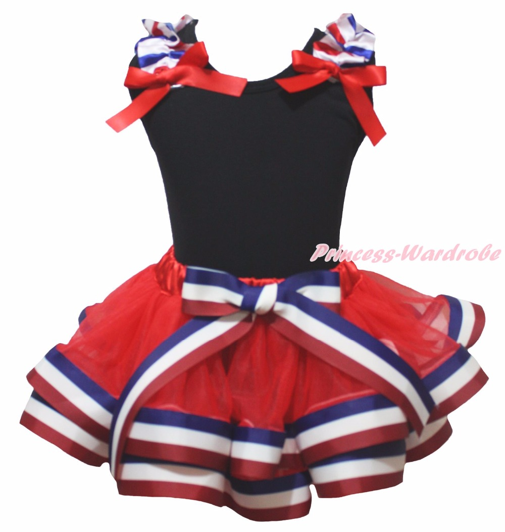 4th July USA Twin Heart Bling 1ST 2ND 3RD 4TH 5TH 6TH Anchor USA Minnie Black Top Red Blue Stripe Trim Skirt Girls NB-8Y<br><br>Aliexpress
