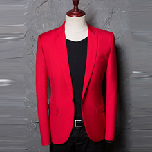 Red Blazer men 2017 New Fashion Men Jacket Casual Designer Brand Costume Homme Men suit Blazers Printed 984618