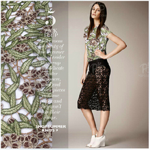European style high-grade water soluble lace fabric polyester fabric light silk dress green leaf jacquard technology