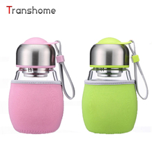Transhome 420ml Glass Bottle For Water With Tea Strainer Cute Sports Fruit Leak Proof A Bottle Of Water With Bag Drinkware