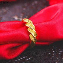 2017 fasion design Twist 24K Gold rings for Women men Gold Color Dubai Bride Wedding Ethiopian  Africa alliance wholesale