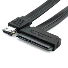 New Black Dual Power eSATA USB 12V 5V Combo to 22Pin SATA USB Hard Disk Cable June07