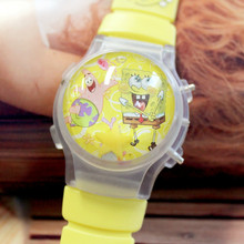 100Pcs/Lot Kids' Wristwatches Lovely Water Globe Cartoon Watch With Flashing Light Silicone Children LED Watches With Calendar