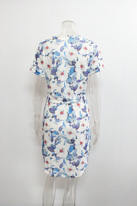 2018 Spring Summer Printed Women Dress O-Neck Hem Side Split Ladies Dresses Tie Sashes Short Sleeve Casual Sexy Female Vestidos 23