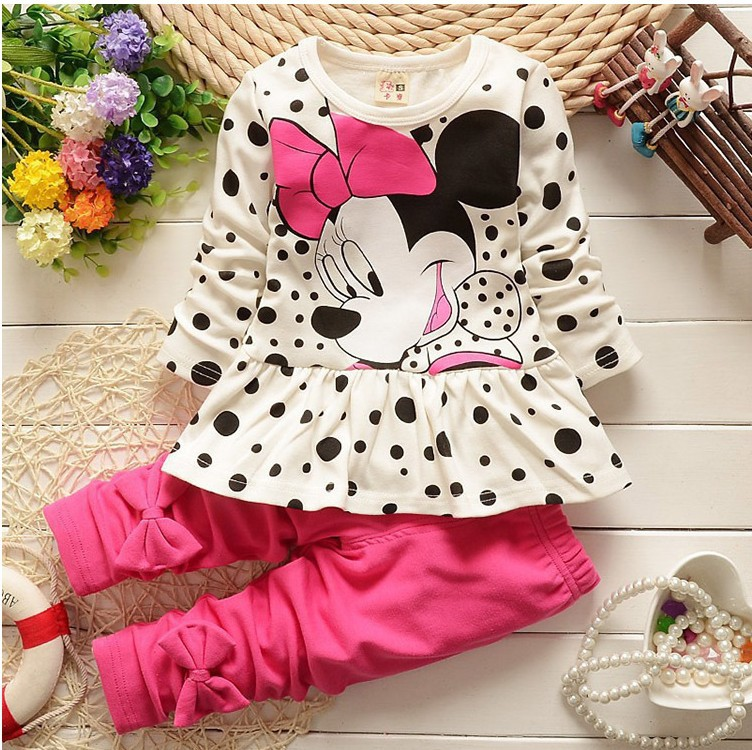 QHM 100% Cotton Minnie Kids Baby Clothes Outfit For Girls Bow Polka Dot Girls Clothes Girls Clothing Sets Children Clothing<br><br>Aliexpress
