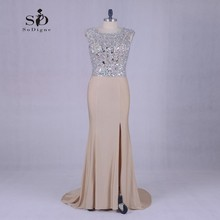 Champagne Crystals Long Dresses Evening Party Dress Sparkly Mermaid Party Dresses Side Slit Mother of the bride dresses