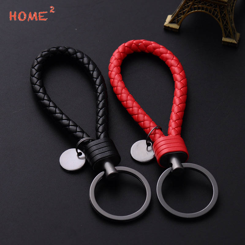 Creative Hand-woven Leather Rope Keychain Men Women Car Keyring smart Volkswagen Vespa Vauxhall Tesla Subaru Skoda Ford Audi