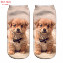1Pair 3D Socks Cotton Socks Dog Printed Casual Style Low Anklet Socks For Christmas Women's Cropped Socks Print Cute Pet Hosiery