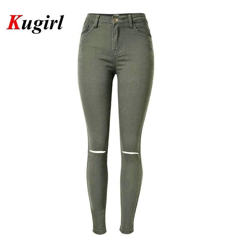 Fashion Ladies Green Cotton Denim Pants Ripped calca knee Women High Waist Jeans Elastic Skinny Jeans Feminino FemininaОдежда и ак�е��уары<br><br><br>Aliexpress
