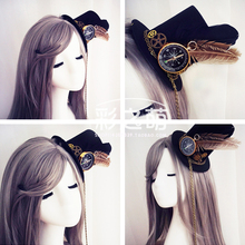 Princess sweet lolita EVIL LAMOUR Steam punk feather hats, hair clips Handmade DIY hair Lolita hairpin CZM011