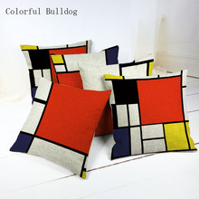 Red Plaid and Geometric Cushion Covers Home Hotel Decor Cojin Throw Pillow Cover Square 45*45cm Car Seat Decorative Linen Cotton(China)