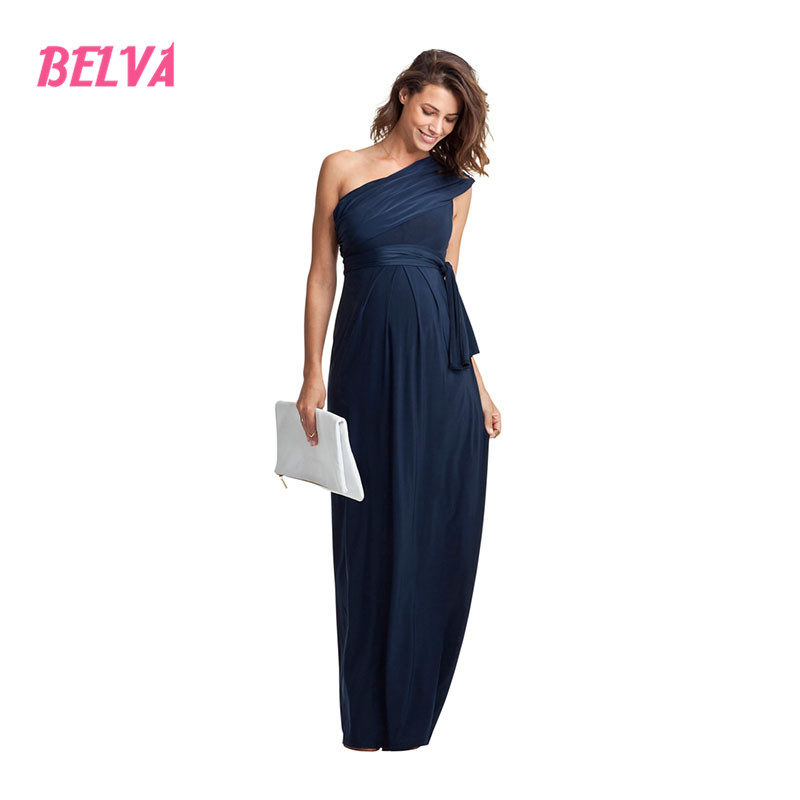 Belva Womens Oblique One Shoulder Long Bamboo Fiber maternity Dresses Evening Gowns pregnancy dress photography DR241<br>