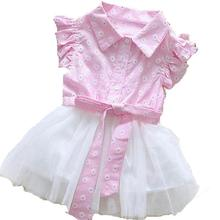2017 New Summer Newborn Baby Dresses Cotton+Lace Infant Baby Girls Dress Casual Floral Kids Tutu Dress for Baby Girls Pink Blue