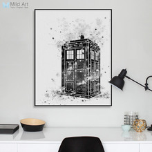 Original Black White Doctor Who A4 Poster Print London Telephone Booth Picture Canvas Painting No Framed Gift Home Deco Wall Art(China)
