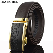 LINGHOBELT 2017 New Real leather belt luxury designer mens belt famous brand Belt for men black automatic 110-130cm,KB-37
