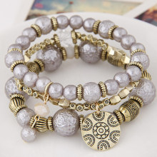 LEMOER New Fashion Spring Style Multilayer Beads Beaded Alloy Plate Charm Bracelets Bangles Jewelry for women Best Friends