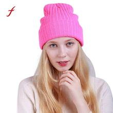 Feitong 1pcs Women's knitted hats Keep Warm Baggy Weave Crochet Winter Soft Cotton Female Wool Knit Ski Beanie Skull Caps Hat(China)