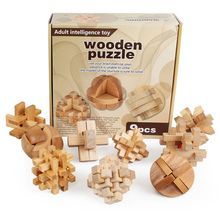 9pcs Chinese Luban Lock Traditional Wooden Toy Brain Teaser Puzzle Educational Wooden Cube Kongming Lock Vintage Adult Kids Toy(China)