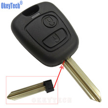 OkeyTech Replacement Car Remote Key Shell Cover for PEUGEOT For CITROEN Elysee 2 Button Key Fob Case Shell Uncut Blade Auto Part(China)