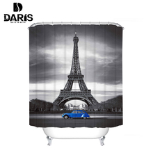 SDARISB Polyester Bathroom Shower Curtain Waterproof Gray Landscape Home Curtains France Eiffel Tower Fabric Shower Curtain