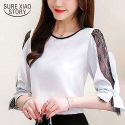 Корейская модная одежда 2019 рубашки шифоновая блуза с кружевом; размеры большие для женщин белые футболки, Дамские топы с О-образным Блузка в...