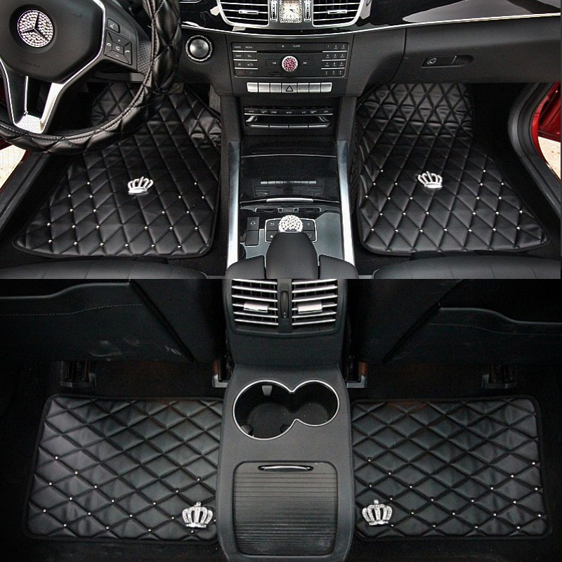 Rivet-Crown-Leather-Carpet-Floor-Mats-Universal-Fit-Mat-for-Car-SUV-Van-Front-Rear-1