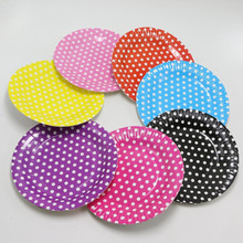 1bag 12 pieces 7'' Striped Polka Dot Chevron Paper Plates for Valentine Birthday Wedding Party Tableware Party Supplies CP061