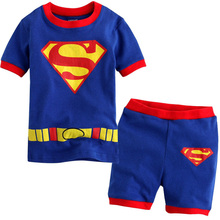cotton Suit girl Boys Summer children Clothing Set Kids Short Sleeve T Shirt Pajamas Superman Train Homewear Bobo Bebe 2-7Y