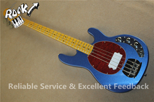 Good Cheap Price 4 Strings Music man Bass Guitar StingRay Ball Metallic Blue Finish & Left Handed Available