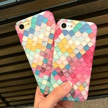 Pink Cute 3D Colorful Fish Scales Phone Cases For iPhone 6 Case 6S Plus Hard Back Cover Coque For iPhone 6 7 6S Plus Shell