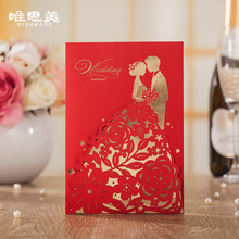 Wishmade 12pcs/lot Red Groom & Bride Design Wedding Invitations Elegant Laser Cut Hollow Invite Cards with Envelopes HP7201