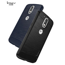 IPAKY for Motorola Moto G4 Plus Cover Bag Brushed TPU Back Phone Case for Motorola Moto G4 Play with Carbon Fiber Decorated(China)
