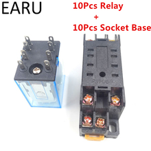 10Pcs MY2P HH52P MY2NJ Relay Coil General DPDT Micro Mini Electromagnetic Relay Swtich with Socket Base AC 110V 220V DC 12V 24V