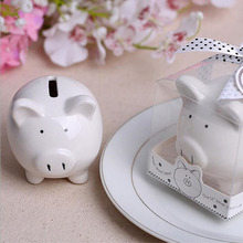 50pcs Lovely Small Ceramics Pig Piggy Bank With Gift Box Baby Shower Wedding Favors Gifts Kids Gift Making Money Boxes ZA1370(China)
