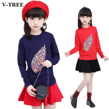 V-TREE Teenager Girls Clothing Set 3-12 Years Girl Suit Set Long Sleeve Top Skirt Clothes Sets Winter Costume For Kids