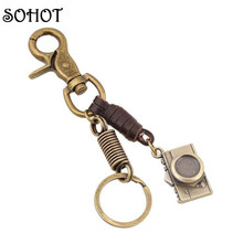 SOHOT Fashion Vintage Genuine Leather Alloy Camera Keychain Pendant Handbags Key Chains Key Ring Holder Jewellery for Women Men