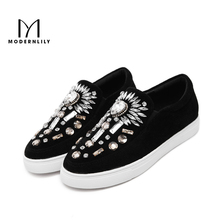 MODERNLILY Loafers Shoes Woman Flock Crystal Slip On Women Platform Flat Shoes Autumn Designer Brand Ladies Shoes Free Shipping(China)