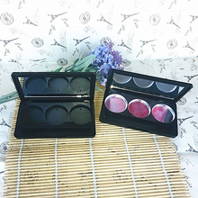 20pcs/lot Plastic Empty Eyeshadow Case 3 Grids Round Jar Aluminum Palette Powder Cosmetics Compact Blush Container Makeup Tools